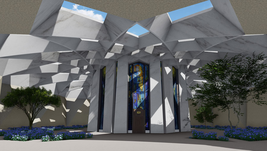 Front entrance design concept of the Shrine of Abdu'l-Baha.