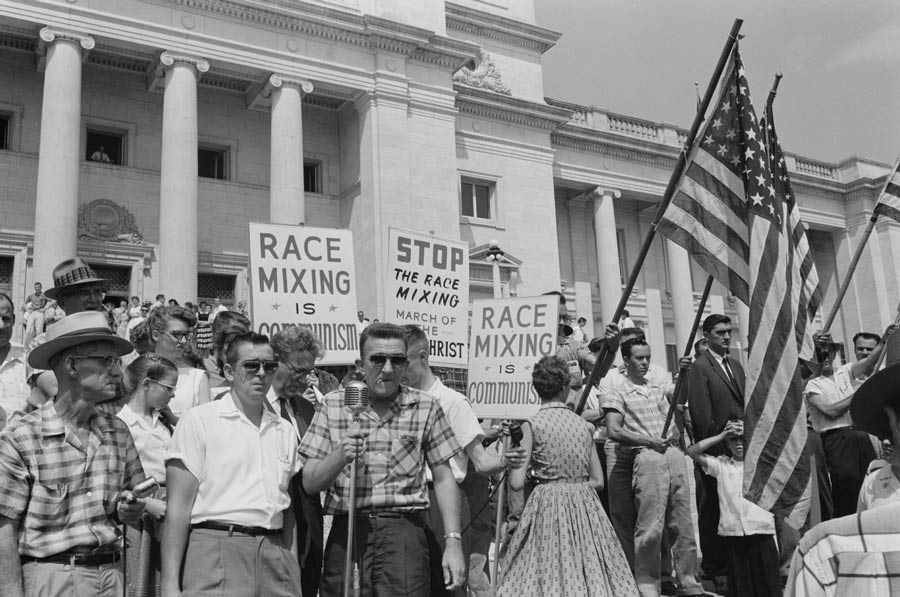 Little Rock, 1959. Rally in the state capital to protest the integration of Central High School.