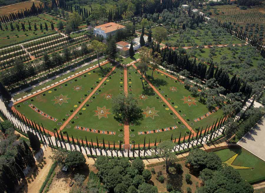 Aerial view of the Shrine of Bahá'u'lláh, the Mansion of Bahjí, and surrounding gardens