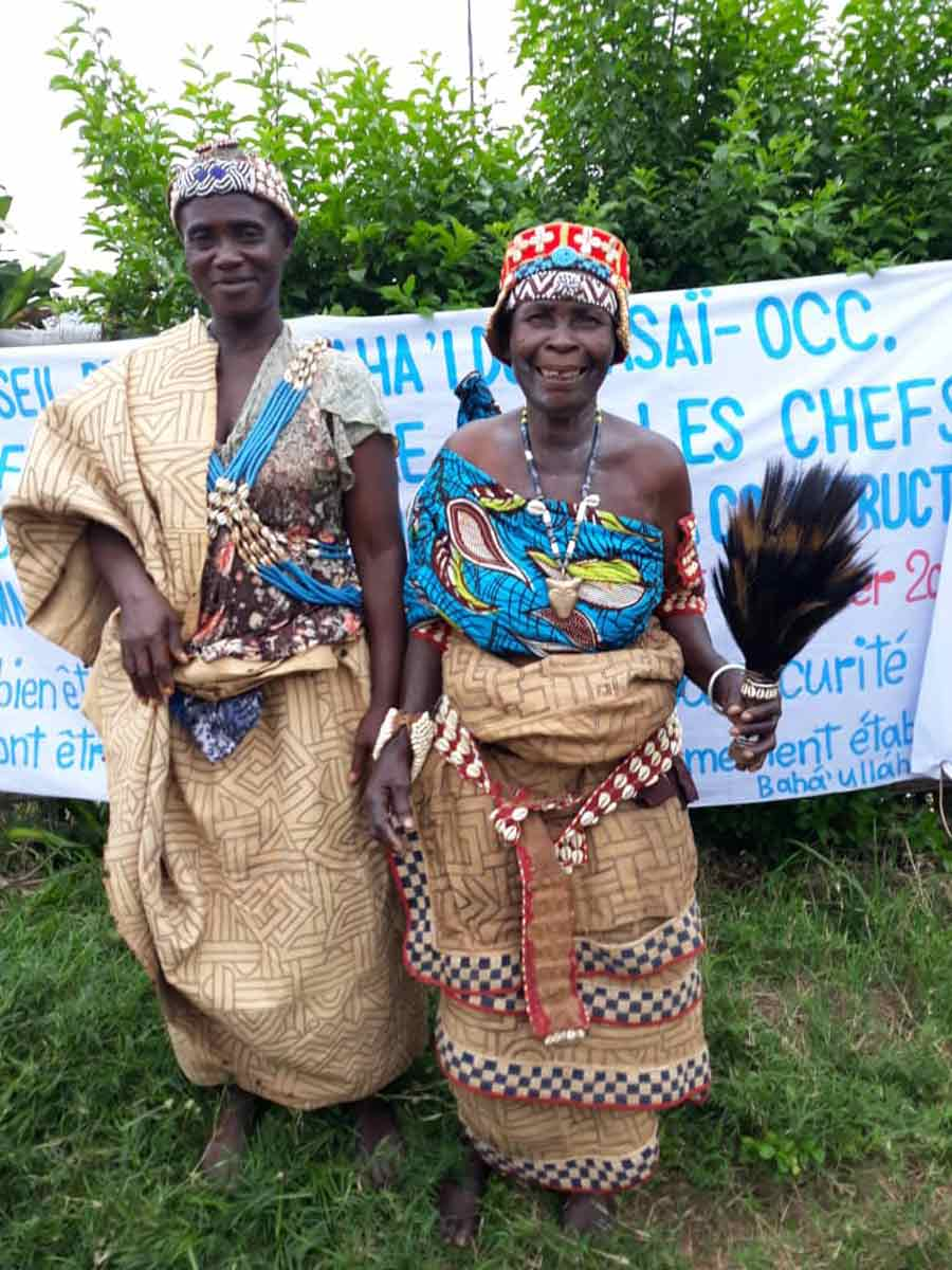 """Chief Nkayi Matala of the Lushiku village (right) and Chief Mbindi Godée of the Ndenga Mongo village. These women were among dozens of traditional chiefs who came together at a conference in Kakenge, Central Kasai, described as """"a remarkable step forward that opens up many new possibilities for realizing the unity of peoples and the prosperity of our communities."""""""