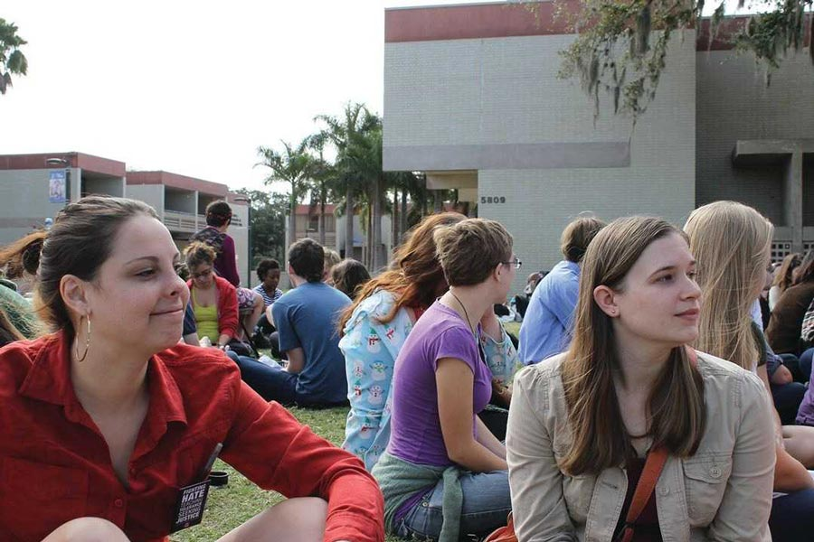 New College students at the student-led teach in campus shutdown in 2012