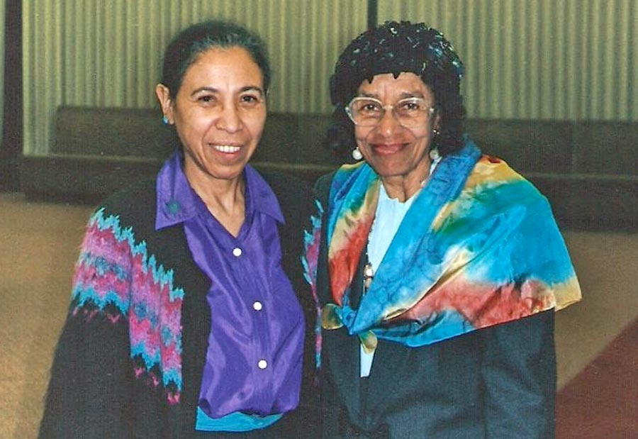 Zylpha Mapp-Robinson (r) is with Quida Coley at the 1992 Baha'i World Congress held at the Jacob-Javits Convention Center in New York City.