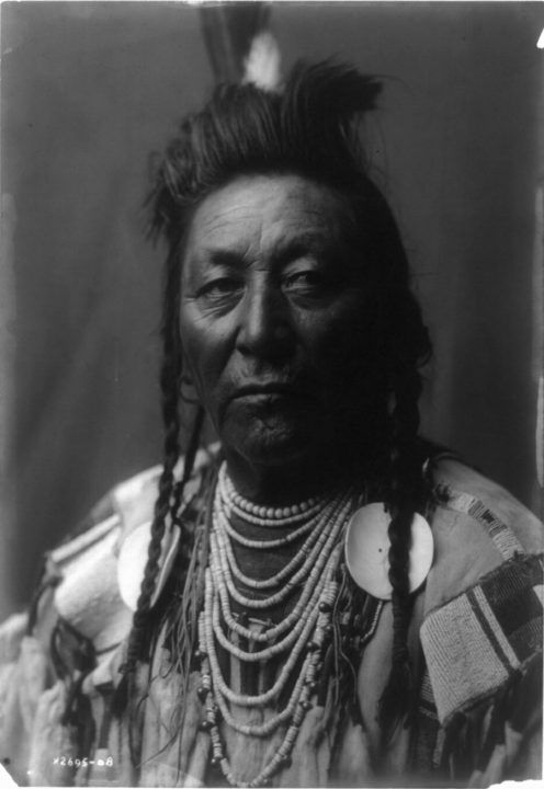 Plenty Coup, chief of the Crow. (Photograph by Edward S. Curtis, Library of Congress)