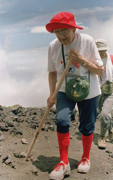 In 1987, Hulda Crooks, a 91-year-old mountaineer from California, became the oldest woman to conquer Mount Fuji, Japan's highest peak.