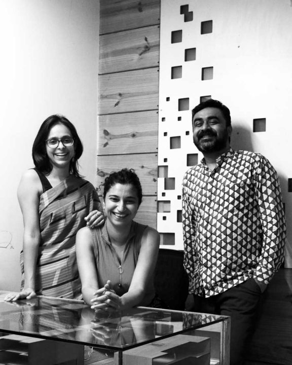The founding partners of SpaceMatters, architecture firm that is designing the Baha'i House of Worship in Bihar Sharif, India. From left to right, Moulshri Joshi, Amritha Ballal, and Suditya Sinha.