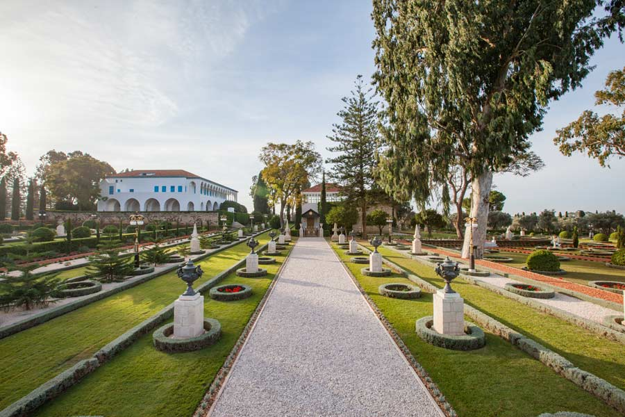 The pathway to the Shrine of Baha'u'llah in Acre, Israel