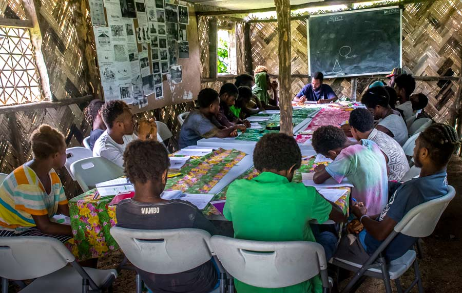 Photograph taken before the current health crisis. A group studying in Vanuatu as part of the Preparation for Social Action (PSA) program. PSA raises capacity in young people to apply knowledge drawn from both science and religion for the development of their communities.