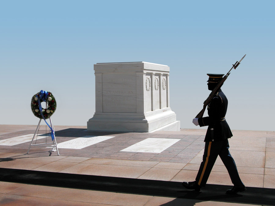 Tomb of the Unknown Soldier, Arlington National Cemetery, Virginia.