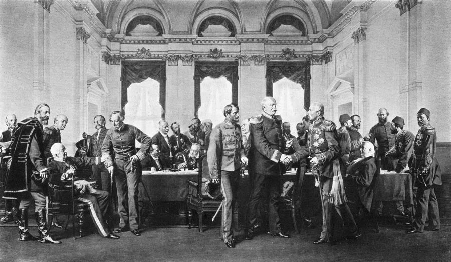 Illustration of the Berlin Conference of 1884-1885 to divide Africa among European colonial powers.