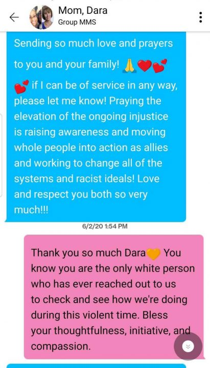 A text message Radiance Talley received from a white ally for social justice