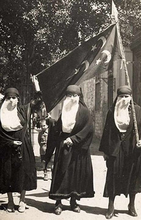 Egyptian women demonstrating as part of a nationalist movement during the 1919 revolution against British rule.