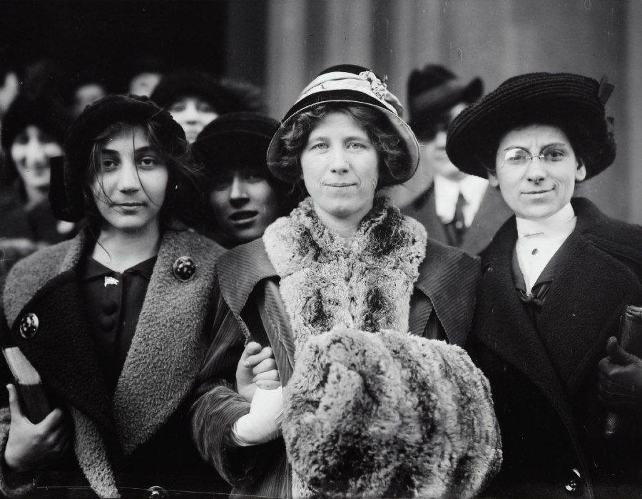 "Suffrage and labor activist Flora Dodge ""Fola"" La Follette, social reformer and missionary Rose Livingston, and a young striker during a garment strike in New York City in 1913."