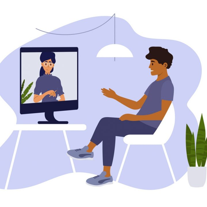 An illustration of a man speaking to his therapist over the computer