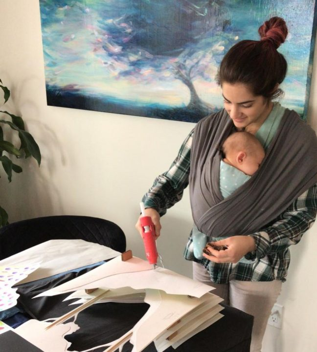 Nur Shojai and her daughter assembling the interior piece of their project
