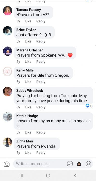 A screenshot of some of the comments my family received on Facebook