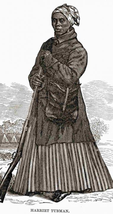 A woodcut of Harriet Tubman in her Civil War clothing
