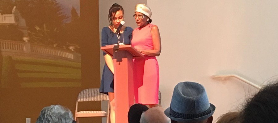 My mother, Barbara Talley, and I reciting poetry