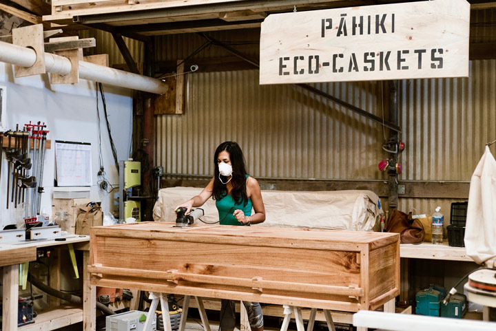 Courtney Gusik at work in the Pahiki Eco-Casket studio.